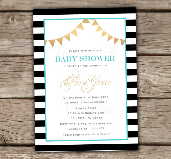 Gold & Black Baby Shower Invitation - Printed Or Printable ...