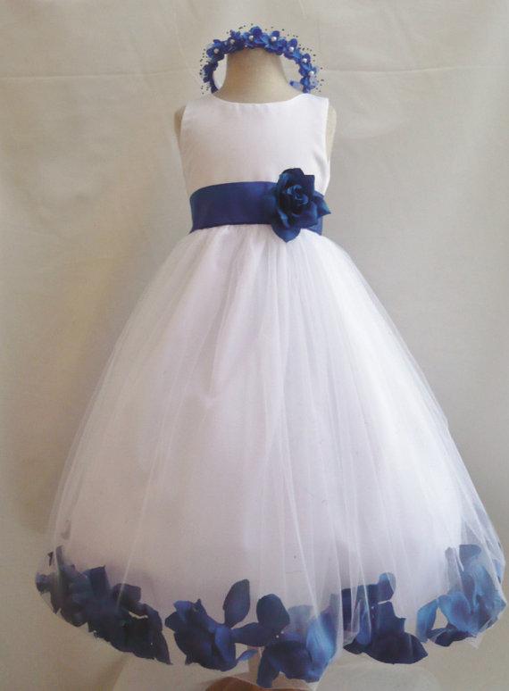 99cef1b49930 Flower Girl Dresses - WHITE With Blue Royal Rose Petal Dress (FD0PT ...