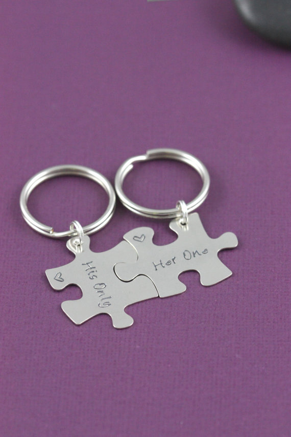 Puzzle Keychains Jigsaw Jewelry Her One His Only Anniversary Gift S Engagement Bridal Shower Handstamped