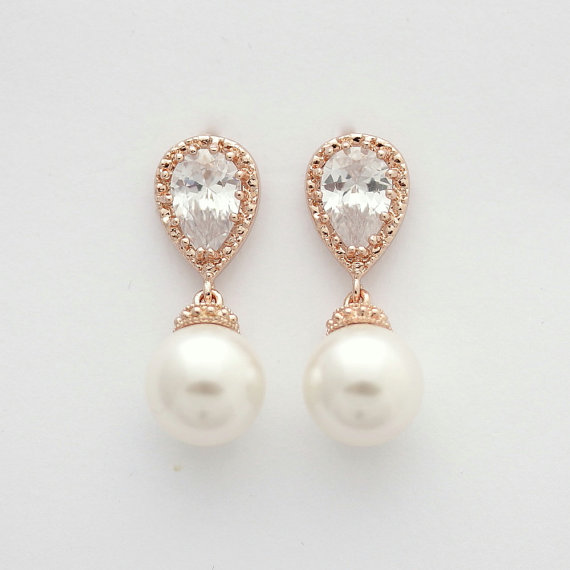 pearl and rose gold bridal earrings pearl bridal earrings. Black Bedroom Furniture Sets. Home Design Ideas