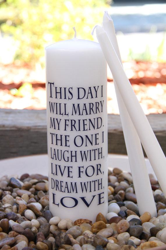 Hochzeit - Unity Candle - 1 main candle & 2 taper candles - This day I will marry my friend. The one I laugh with, live form dream with, LOVE.