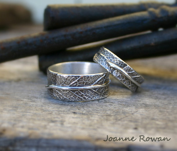 Свадьба - Meet Me in the Forest...Matching Set of Sage Leaf Bands...Wedding Rings, Engagement Rings, Promise Rings