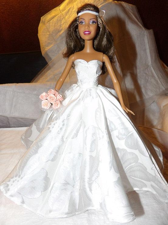 Beautiful Floral Patterned Silky Strapless Wedding Dress Veil Slip Flowers For Barbie Dolls