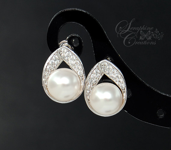 Hochzeit - Pearl Earrings Bridal Earrings Cubic Zirconia Pearl Teardrop Wedding Jewelry Swarovski Wedding Earrings White Ivory/Cream Bridesmaid Gifts
