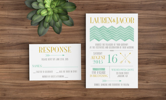 Printable Wedding Invitation TemplateMint, Gold, Watercolor