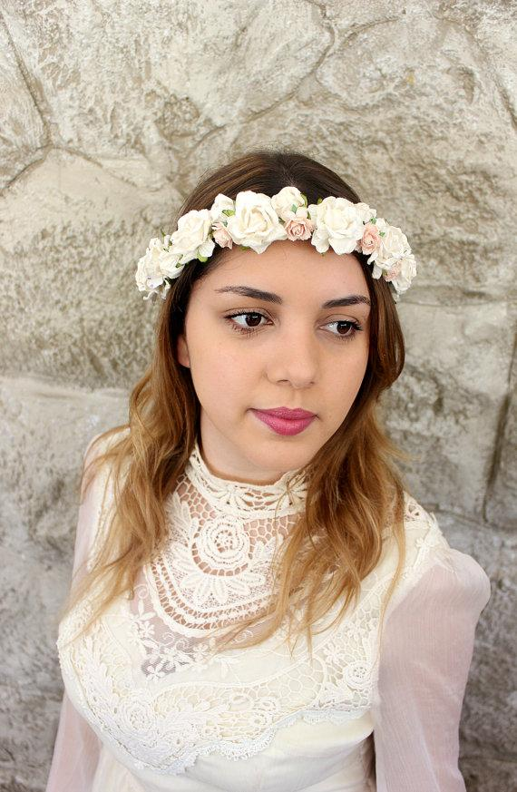 Hochzeit - Light Ivory and Blush Flower Crown, floral crown, Woodland, spring, white and pink,rustic, weddings, Hair Accessories