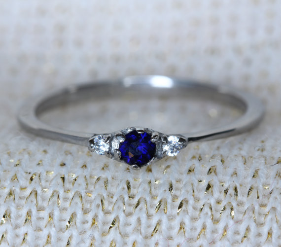 Свадьба - Natural Blue Sapphire and White Sapphire 3 stone Trilogy Ring in White Gold or Titanium  - engagement ring - handmade ring
