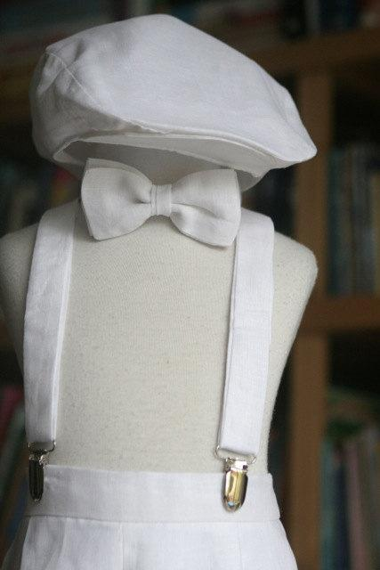 Wedding - Linen Boy set with Shorts, Bow Tie, Suspenders and Newsboy Hat ring bearer