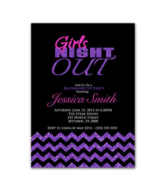 زفاف - Purple Bachelorette Party Invitation Girls Night Out Invite Last Fling Pink Purple Black Glitter Glam Sparkle Chevron Printable Invite 25