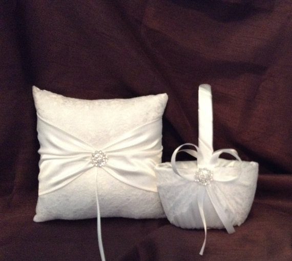Wedding - lace flower girl basket and pillow white or ivory custom made
