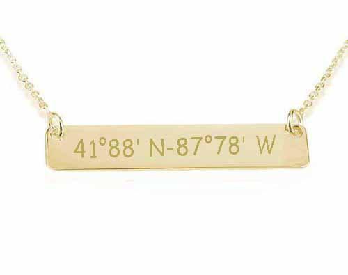Mariage - Gold Bar Necklace,Latitude longitude necklace,Engraved Coordinate Necklace,Horizontal Bar Jewelry,Custom Bar Necklace,Location Necklace