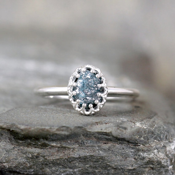 raw blue diamond ring crown style setting sterling