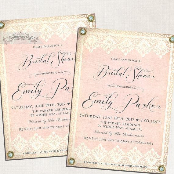 blush pink bridal shower invitations vintage lace gold and bling formal high tea luncheon brunch digital printable file or printed no780