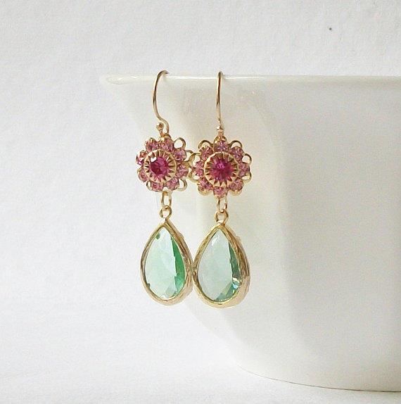 Mariage - Pink Green Crystal Gold Drop Earrings, AA, Mothers Day Jewelry Gift