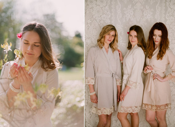 Bridesmaid robes with lace
