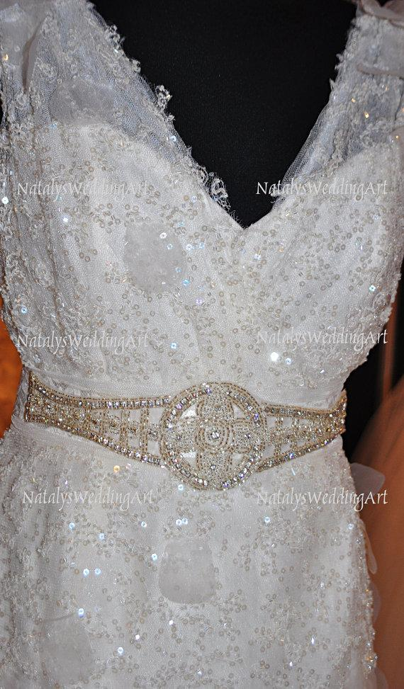 Mariage - Bridal Crystal Belt Crystal gown sash for Wedding Dress Vintage style Clear crystal Belt with lace satin ribbon