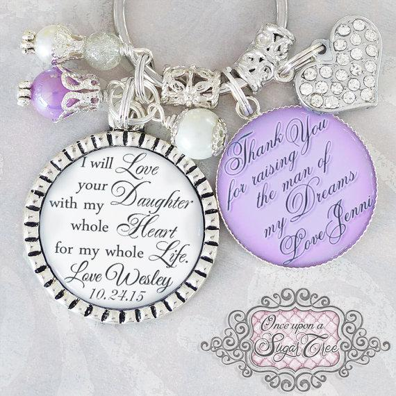 Wedding - Mother of the BRIDE Gift, Wedding Jewelry,Personalized WEDDING Necklace Inspirational Quote All that I am and hope to be Custom Wedding Gift