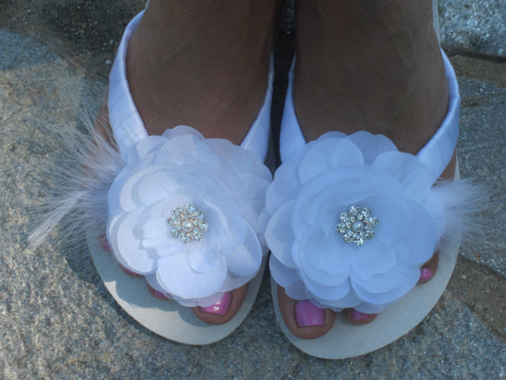 28a3a8770f4e3 Wedding Flip Flops.Bridal Accessories.White Flip Flops.Beach Wedding.Flower  Rhinestone Shoes.ALL COLORS AVAIL!