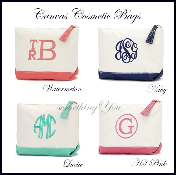 monogrammed canvas cosmetic bag personalized toiletries bag