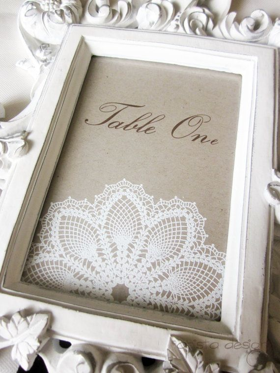Mariage - Vintage Lace Table Numbers/ Markers For Weddings/Special Occasions