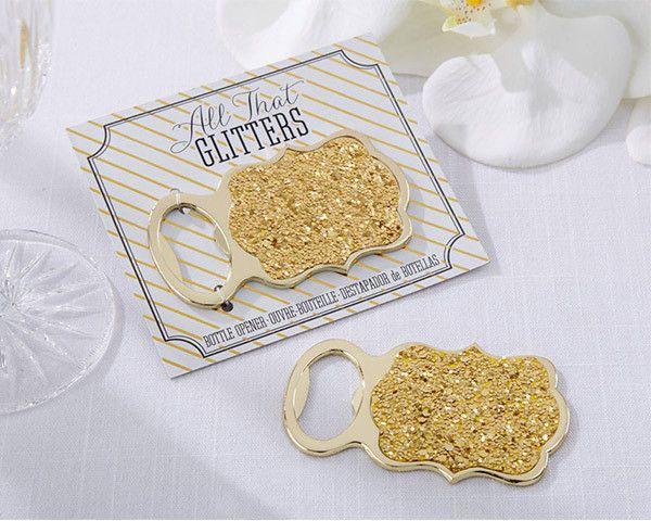 Wedding - Glittery Gold Bottle Opener Favors