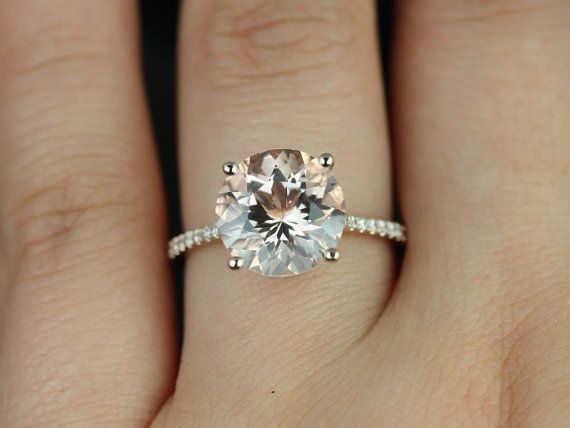 Eloise 10mm Size 14kt Rose Gold Round Morganite And Diamonds