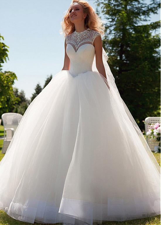 2015 New Glamorous Satin Tulle Jewel Neckline Ball Gown Wedding Dress With Beadings Rhinestones Online 12461 Piece On Hjklp88s Store