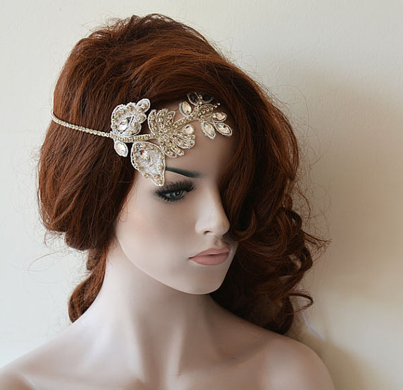 Wedding - Wedding Hair Accessories, Bridal Headband, Wedding Headband, Rhinestone and Lace Headband, Wedding Headpiece, Bridal Hair Accessories