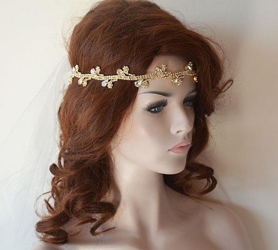Wedding Hair With Rhinestone Headband : Wedding gold rhinestone headband bridal hair accessory
