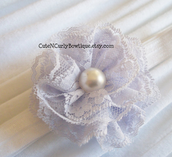 زفاف - Baby Headbands Lace Lilac Girls Bow Purple Flower Headband Baby Girls Vintage Bridal Wedding Hair Clip Elastic Baby Headbands Flower Bows