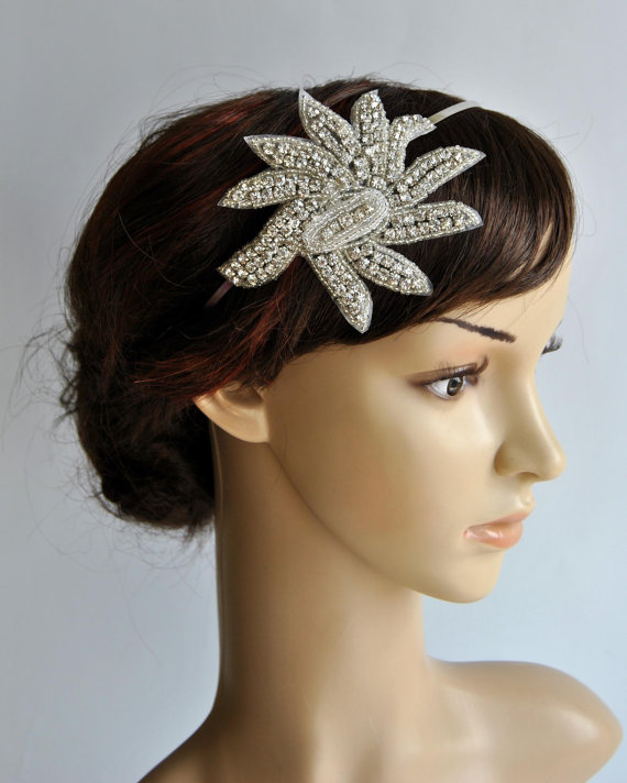 Mariage - Crystal Headband, Rhinestone flapper Gatsby Headband, Wedding Headband, Wedding Headpiece, Halo Bridal Headpiece, 1920s Flapper headband