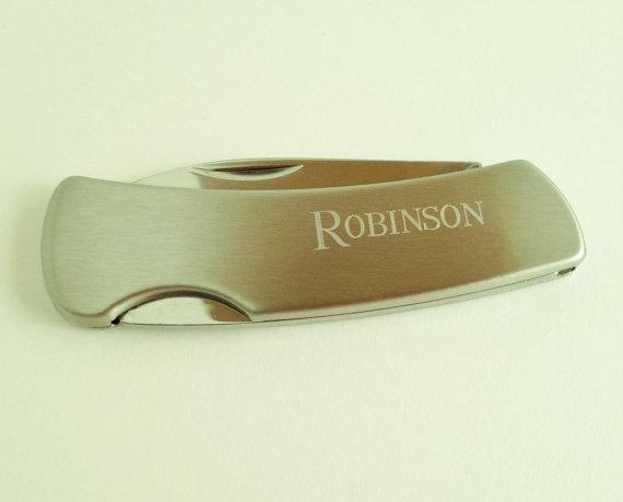 Mariage - Engraved Monogrammed Pocket Knife - Single Blade Gift for Men Groomsmen Gifts for Him