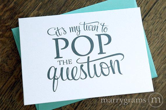 زفاف - Will You Be My Bridesmaid Cards - It's My Turn to Pop the Question - Maid of Honor, Wedding Party - Cute Card to Ask Bridal Party (Set of 4)