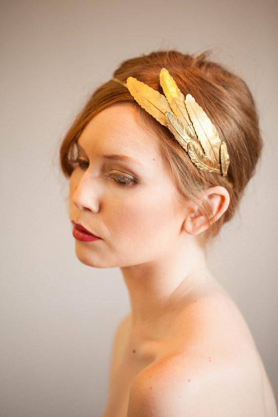 Mariage - Plume d'or headband,