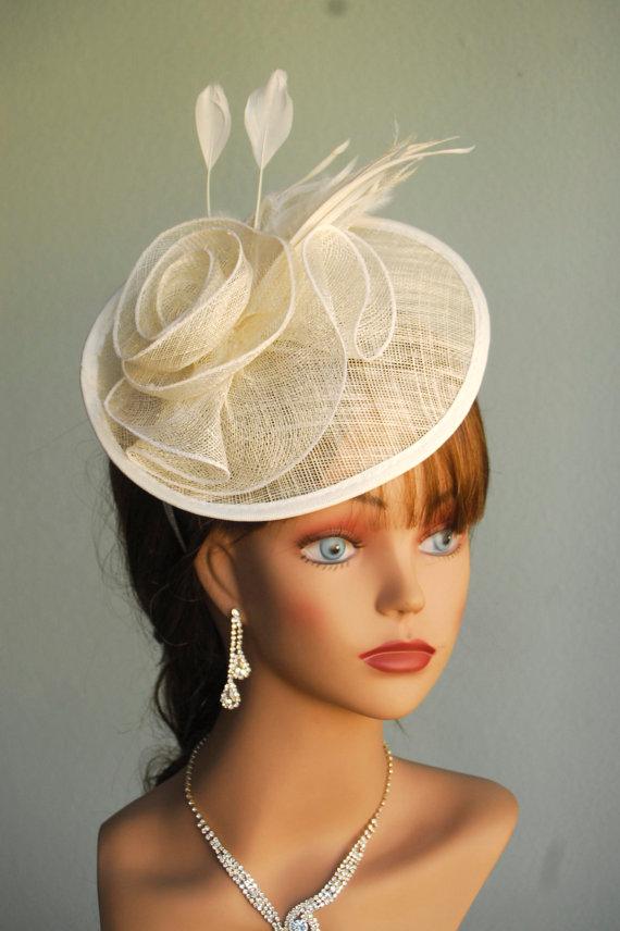 Mariage - Ivory Wedding Head Piece Kentucky Derby Hat Fascinator Wedding Accessory  Cocktail Hat Bridal Accessory