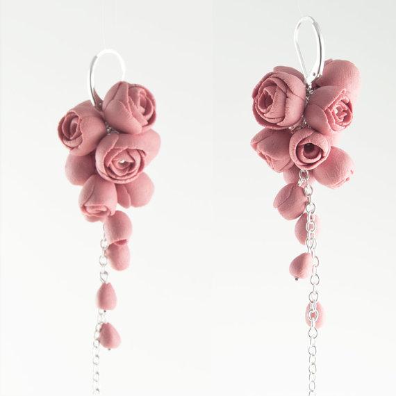 Sterling Silver Rose Earrings Porcelain Pink Flower Cluster