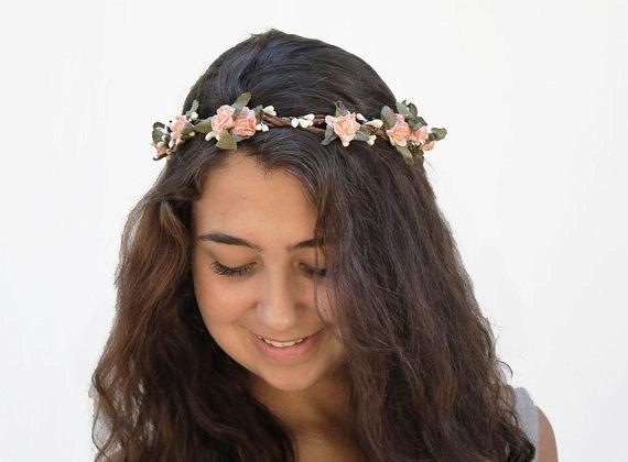 Mariage - Peach Flower Crown - Bridal Headpiece, Bridal Flower Crown, Flower Girl Hair Wreath, Floral Crown, Wedding Accessories, Wedding Hair, Bridal