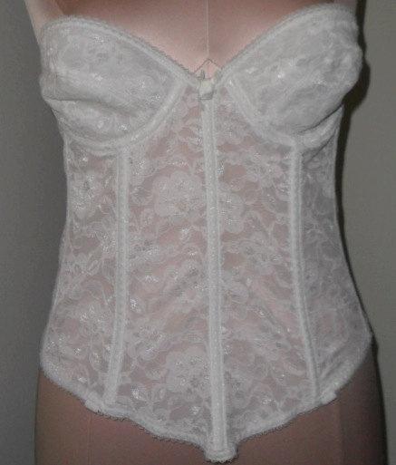 Hochzeit - Lace Bustier White Longline Strapless Bra 36A VintageWedding Corset