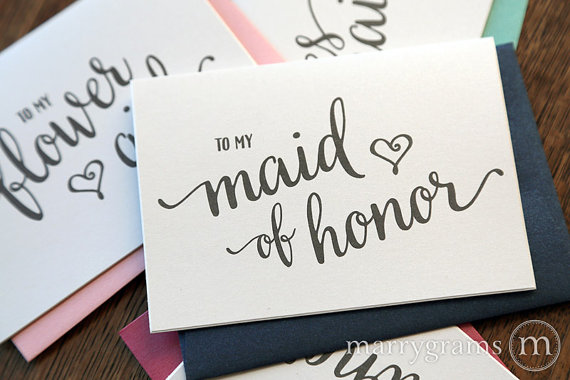 To My Bridesmaid Wedding Party Bridal Thank You Cards Thank You