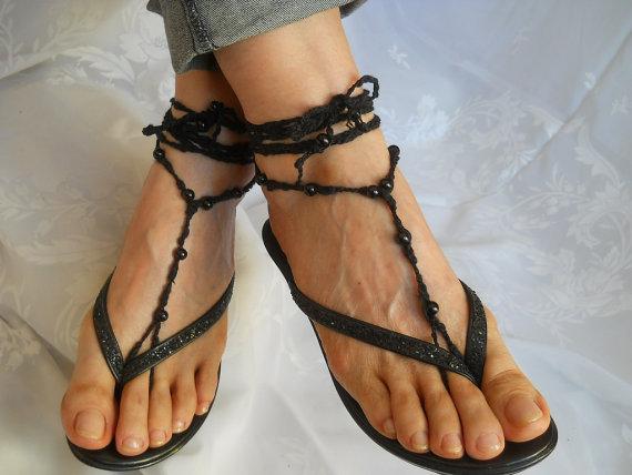 Mariage - CROCHET BAREFOOT SANDALS / Barefoot Sandles Anklet Shoes Beads Victorian Crochet Women Wedding Sexy Accessories Cotton Elegant Feminine Chic