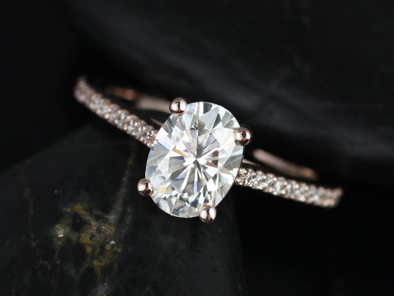 Mariage - Blake 8x6mm 14kt Rose Gold Oval FB Moissanite and Diamonds Cathedral Engagement Ring (Other metals and stone options available)