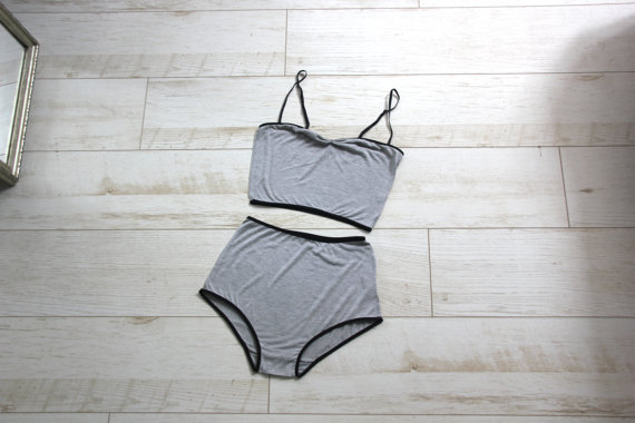 9140bfb76 Grey Jersey High Waist Underwear Set