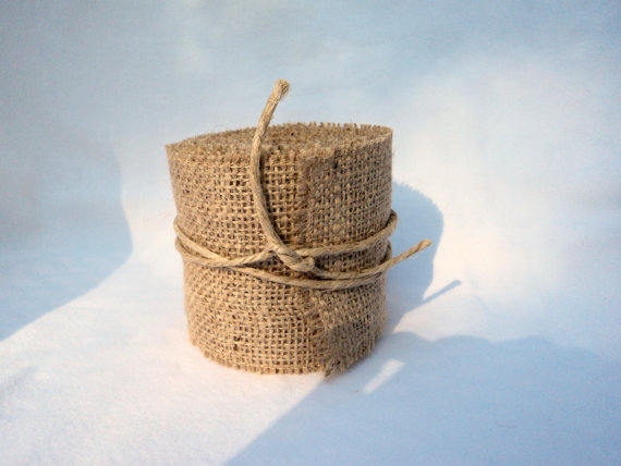 "زفاف - Burlap Ribbon Stitched 2"" Wide 5 Yards Burlap Wedding Ribbon or Home Decor"