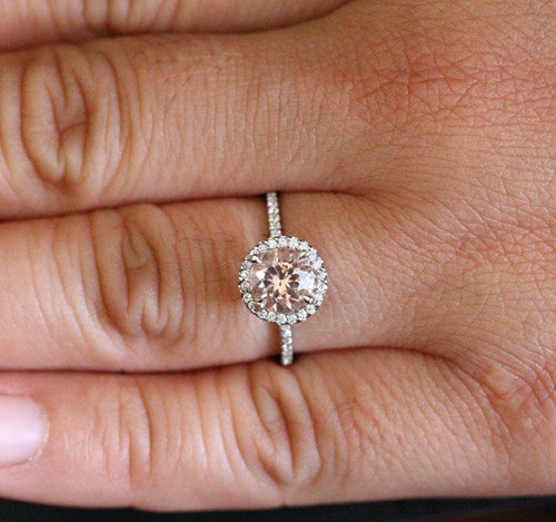 Peach Pink Morganite Ring Morganite Engagement Ring in 14k White Gold with  Morganite Round 7mm and Diamond Halo (Also Available in 18k Gold)