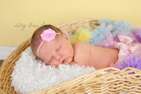 Mariage - Baby Headband-Pink Shabby Flower Headband-Baby Girl-Preemie-Newborn-Infant-Toddler-Child-Photography Prop-Birthday-Wedding-Baptism-Pretty