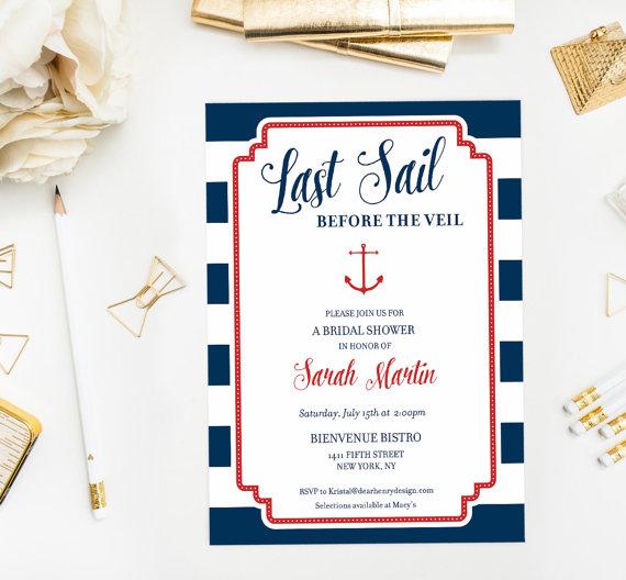 Last Sail Before The Veil Nautical Bridal Shower Invite ...