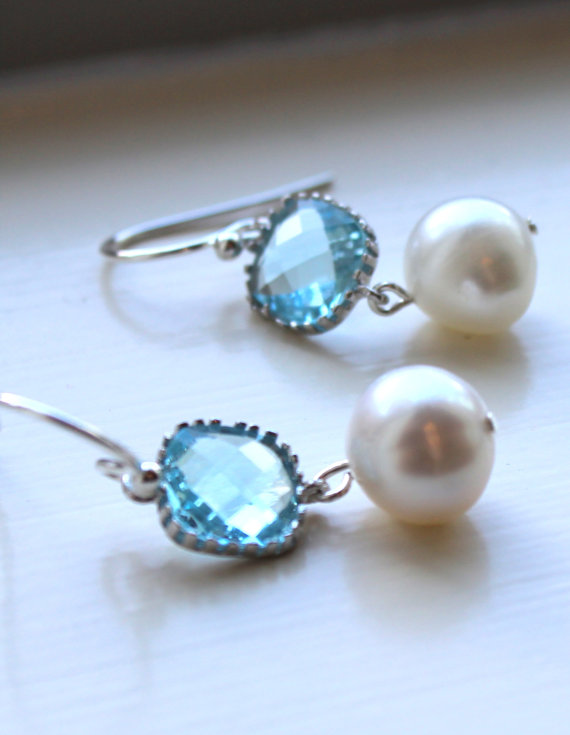 Aquamarine Earrings Pearl Silver Blue Gl Bridesmaid Wedding Jewelry