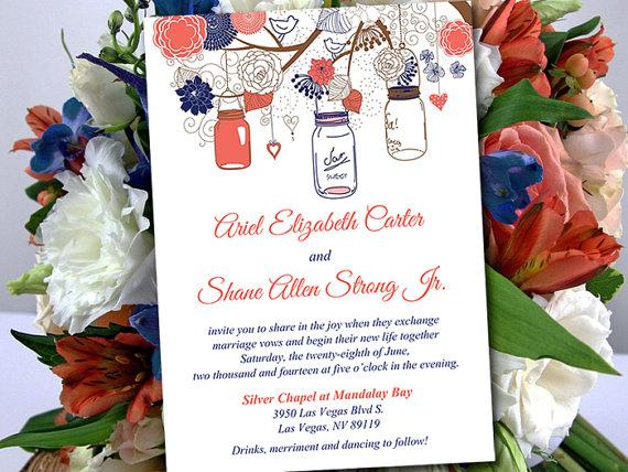 printable wedding invitation template - mason jar invitation, Wedding invitations