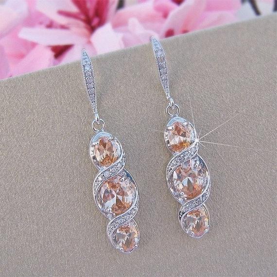 Свадьба - Peach Morganite Crystal Earrings, Peach Bridal Earings, Bridal Jewelry, CZ Crystal Earrings