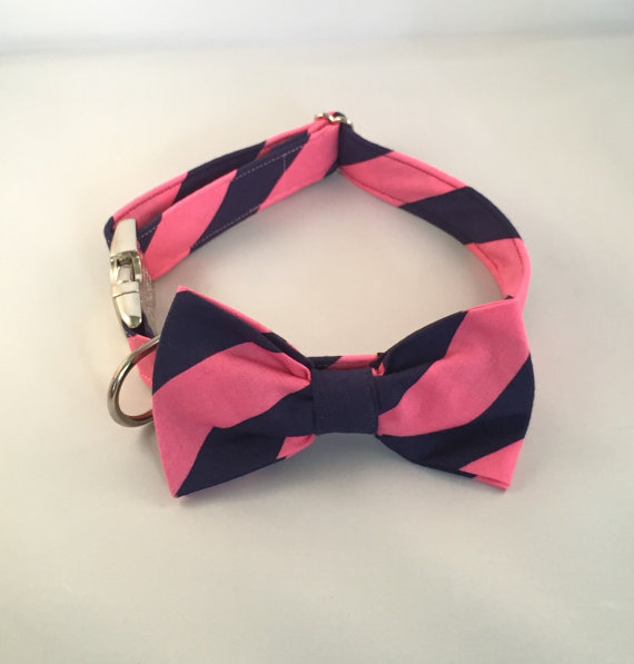 Свадьба - Preppy Navy Blue and Pink Stripe Dog Bow Tie Collar, Pink and Navy Dog Bowtie Collar, Custom Dog Collar, Wedding Dog Bow Tie Collar